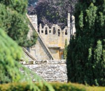Distant View of Stanway House battlements.